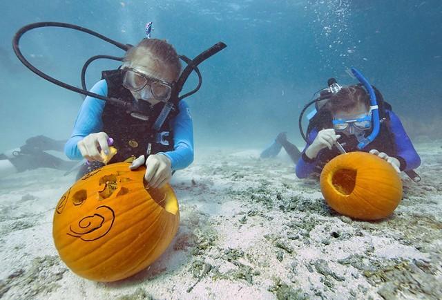 Các thợ lặn tham gia cuộc thi trang trí bí ngô dưới nước ở Key Largo, Florida, Mỹ.