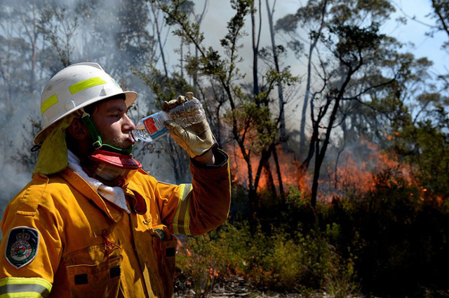 Lính cứu hỏa nghi ngơi trong khi chiến đấu với cháy rừng gần thị trấn Bell, Sydney, Australia.
