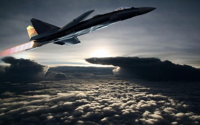 """Toàn bộ vỏ của máy bay Su-47 được phủ một lớp sơn có thể hấp thu tối đa tín hiệu radar, giúp nó gần như """"tàng hình"""" khi bay."""