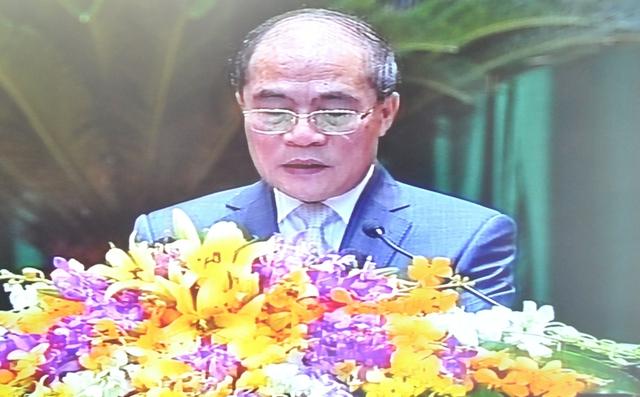 Chủ tịch Quốc hội Nguyễn Sinh Hùng phát biểu khai mạc kỳ họp thứ 6 Quốc hội khoá XIII (Ảnh: Tuấn Nam)