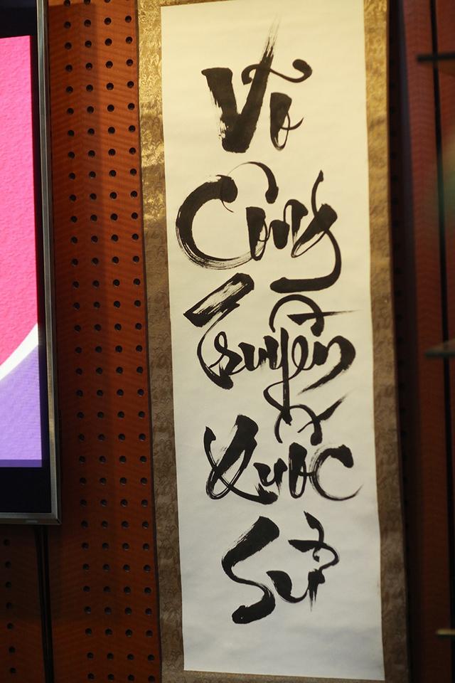 Cặp câu đối Nhà thư pháp Kiều Quốc Khánh viết mừng tuổi 103 của Đại tướng Võ Nguyên Giáp
