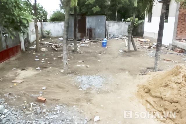 Công trình xây dựng nơi ông Hải bị sát hại.