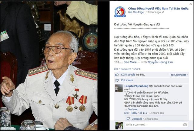 Thông tin Đại tướng Võ Nguyên Giáp qua đời được chia sẻ trên facebook của Cộng đồng người Việt Nam ở Hàn Quốc