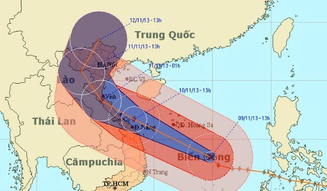 Bão Haiyan đã tiến sát miền Trung.