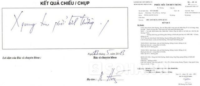 Một số giấy xét nghiệm trong bệnh án của ông Bái