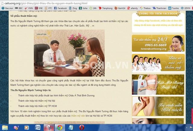 Trang web của thẩm mỹ viện Cát Tường giới thiệu bác sĩ Nguyễn Mạnh Tường là thành viên Hiệp hội thẩm mỹ TP.HCM và 2 hiệp hội khác.
