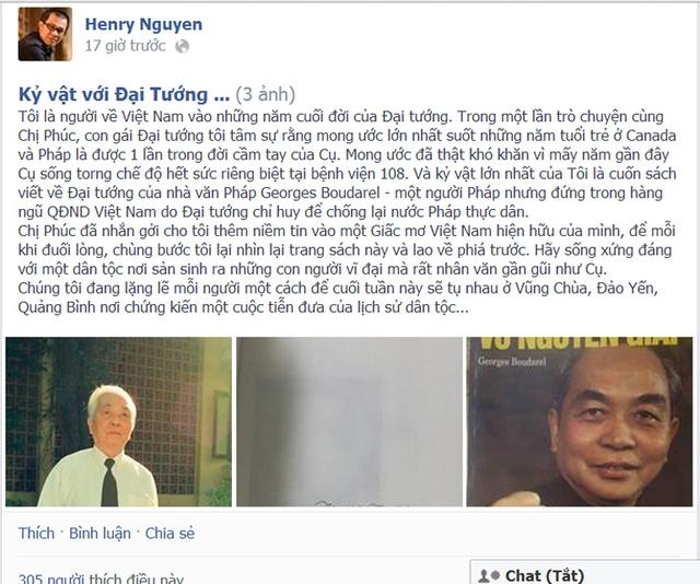 Trên trang chia sẻ cá nhân, ông Nguyễn Hữu Thái Hòa, Giám đốc chiến lược của FPT tiếc thương Đại tướng.