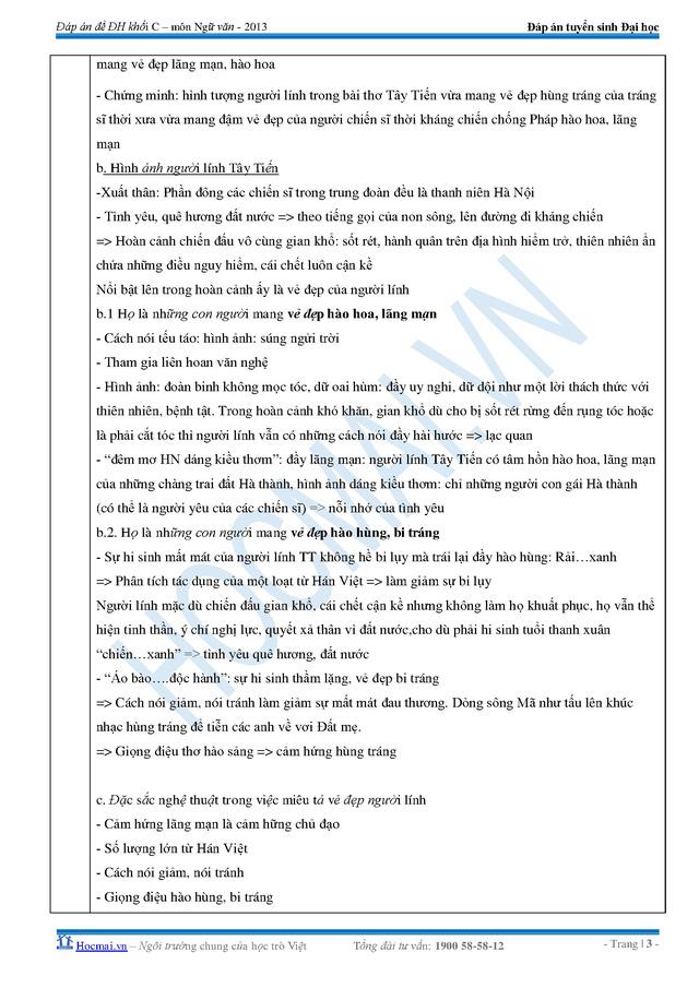 Đáp án đề thi môn Văn khối C năm 2013