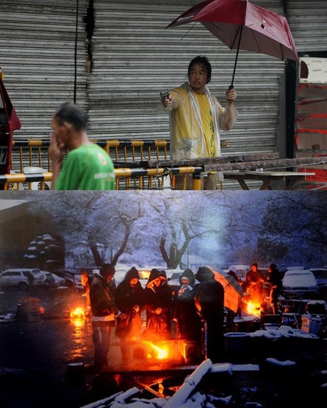 Tình trạng cướp bóc xảy ở ra Philippines nhiều tới mức, người dân phải dùng súng để bảo vệ mình và tài sản của mình (ảnh trên). Trong khi đó, người dân Nhật Bản sống trong cảnh màn trời chiếu đất chia nhau từng hơi lửa ấm.
