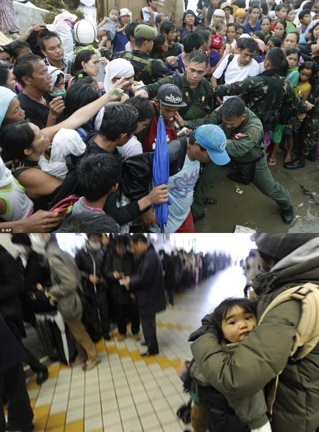 Người dân Philippines chen chúc, xô đẩy nhau để được lên máy bay đi khỏi Tacloban (ảnh trên), trái ngược với cảnh người dân xếp hàng trật tự tại sân bay, chờ đời được rời khỏi Fukushima.