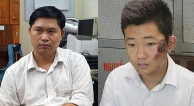 Hai đối tượng Nguyễn Mạnh Tường và Đào Quang Khánh tại cơ quan điều tra.