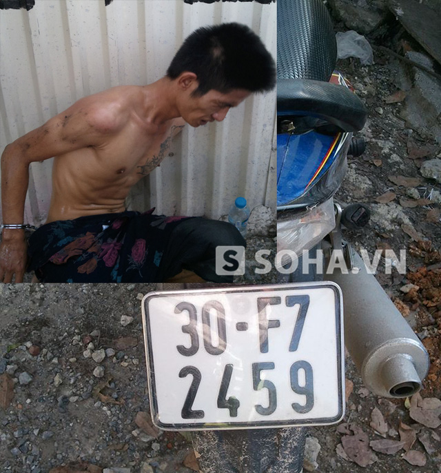 Đối tượng Nguyễn Văn Đông, bỏ lại xe chạy vào trong ngõ ngách.