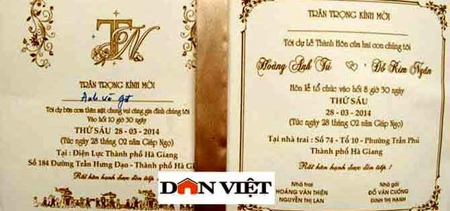 Thiệp mời đám cưới con trai Giám đốc Sở điện lực tỉnh Hà Giang, ghi rõ nơi tổ chức tiệc cưới tại Điện lực Thành phố Hà Giang.