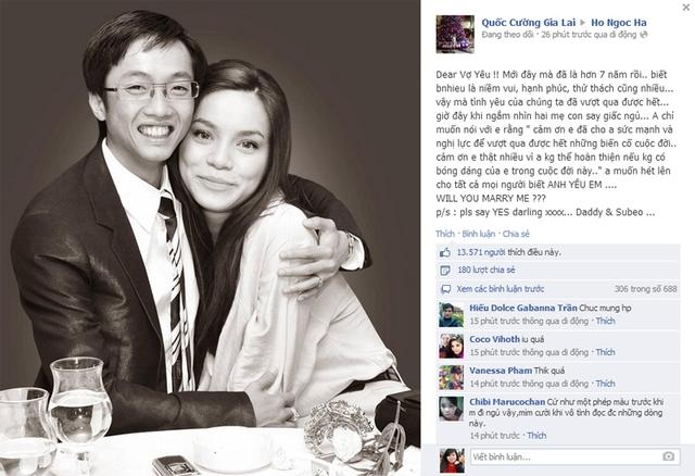 Ngày 12.1.2014: Cường đôla chính thức cầu hôn Hồ Ngọc Hà.