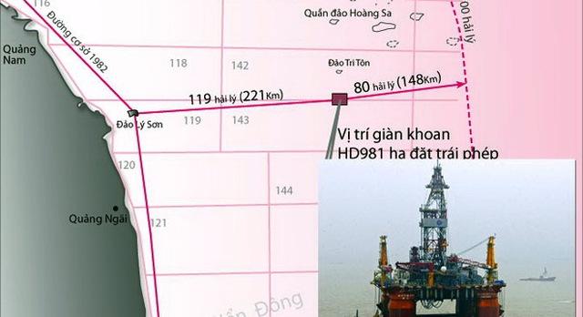 Sơ đồ vị trí giàn khoan HD981 của Trung Quốc hạ đặt trái phép nằm hoàn toàn trong vùng đặc quyền kinh tế, thềm lục địa của Việt Nam *Ảnh nhỏ: Giàn khoan HD981 khổng lồ của Trung Quốc - Ảnh: Tư Liệu - Đồ họa: Vĩ Cường