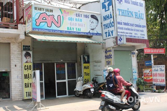 Tiệm hớt tóc An, nơi xảy ra vụ cướp.
