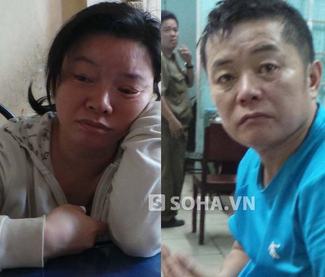Hai vợ chồng người Trung Quốc buôn thuốc kích dục vừa bị bắt. Ảnh CA cung cấp.