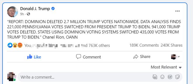 Nổ phát súng đầu tiên về gian lận bầu cử: Ông Trump tuyên bố 2,7 triệu phiếu bầu cho Trump bị xóa - Ảnh 1.