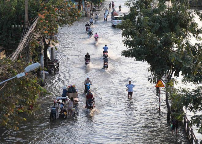 Triều cường dâng cao, đường phố Sài Gòn ngập sâu chiều cuối tuần - Ảnh 2.