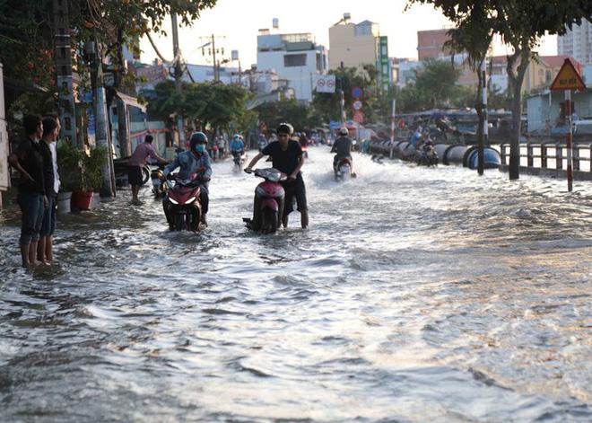 Triều cường dâng cao, đường phố Sài Gòn ngập sâu chiều cuối tuần - Ảnh 8.