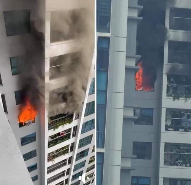 Cháy tầng 29 chung cư tại Hà Nội, nhiều người hốt hoảng bế con bỏ chạy - Ảnh 1.