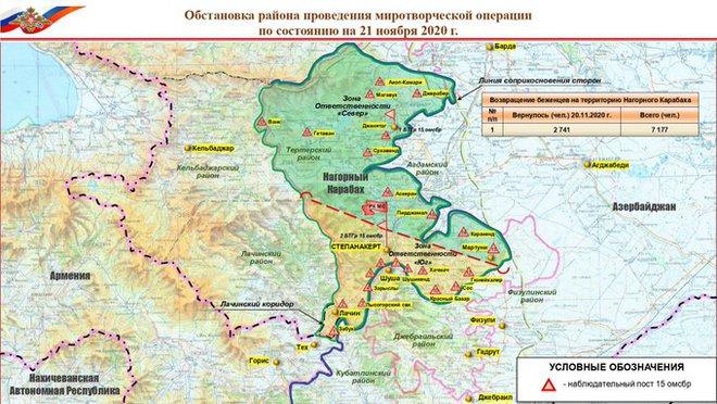 NÓNG: BQP Nga công bố bản đồ bố phòng mới ở Karabakh - Tín hiệu xấu cho QĐ Thổ Nhĩ Kỳ? - Ảnh 1.