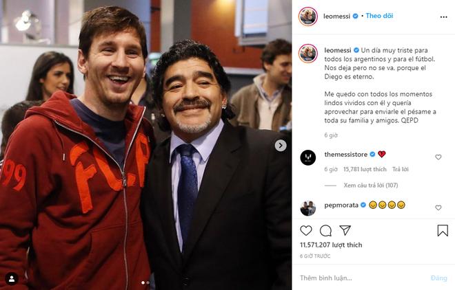 Messi, Ronaldo đau buồn gửi lời chia tay huyền thoại Maradona - Ảnh 1.