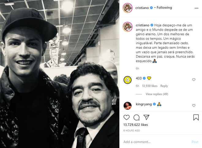 Messi, Ronaldo đau buồn gửi lời chia tay huyền thoại Maradona - Ảnh 2.