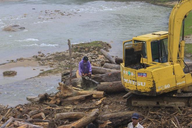 Gỗ khai thác trái phép trôi vây kín chân cầu sau bão số 9 - Ảnh 5.