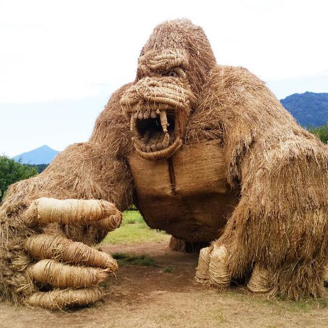 Kinh ngạc loạt quái vật rơm khổng lồ trên cánh đồng Nhật Bản - Ảnh 1.