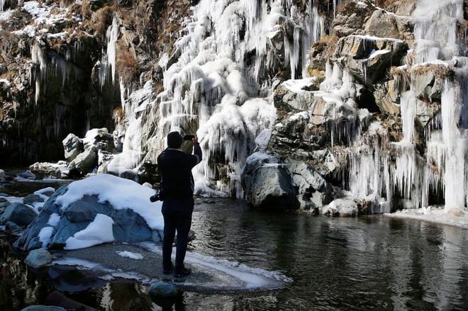 24h qua ảnh: Du khách chiêm ngưỡng thác nước đóng băng ở Ấn Độ - Ảnh 2.