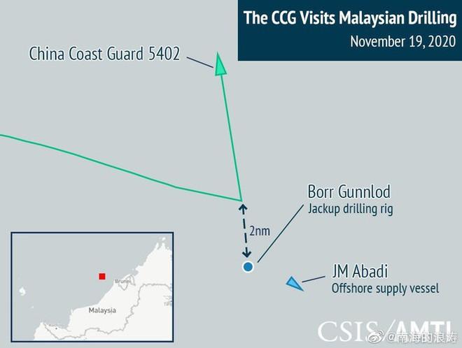 Tranh chấp trên Biển Đông: Tàu hải quân Malaysia đối đầu tàu hải cảnh Trung Quốc - Ảnh 2.