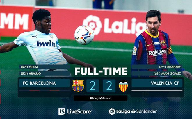 Barcelona 2-2 Valencia: Messi cân bằng kỷ lục của Pele nhưng Barca vẫn chia điểm
