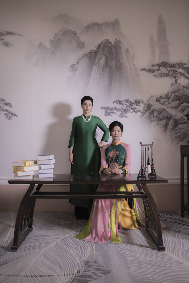 Thúy Hà, Quỳnh Hoa bất ngờ làm mẫu ảnh áo dài - Ảnh 1.