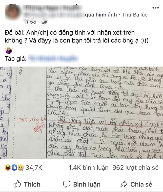 Bài thi với màn hỏi - đáp độc nhất vô nhị của nữ sinh Hà Nội: Dòng chữ gạch chân đỏ hút nghìn like - Ảnh 1.