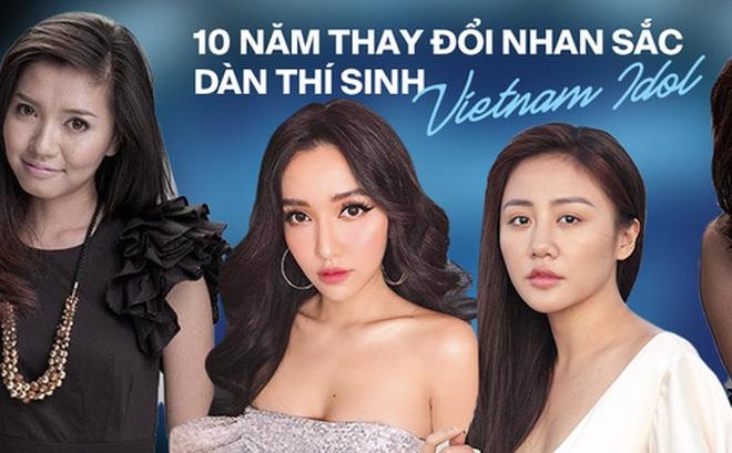 Dàn thí sinh Vietnam Idol lột xác nhan sắc sau 10 năm: Bích Phương dao kéo quá đỉnh, Văn Mai Hương - Trung Quân thay đổi ngoạn mục