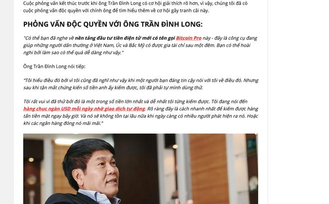 Tỷ phú Phạm Nhật Vượng, Trần Đình Long bị giả mạo, kéo vào cuộc làm giàu với bitcoin - Ảnh 3.