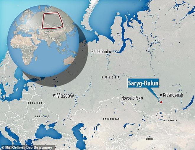 Vị trí tìm ra hài cốt: Saryg-Bulun thuộc Cộng hòa Tuva - ảnh: DAILY MAIL
