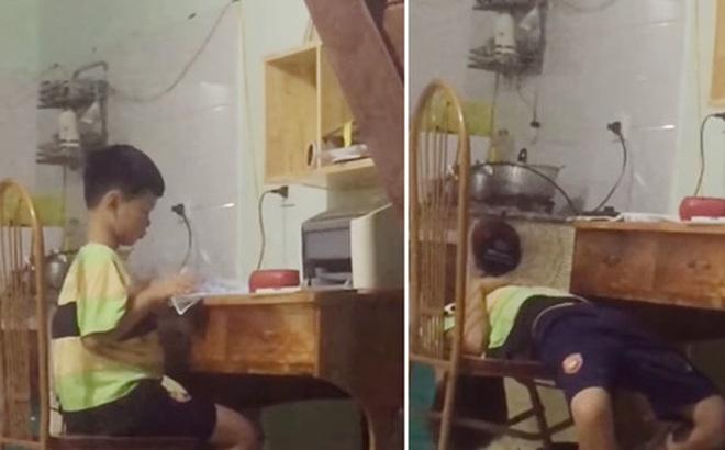 Cậu bé khiến dân mạng cười vỡ bụng: Mới học vài phút đã đứng dậy tắt quạt rồi làm hành động thiếu nghị lực như này đây