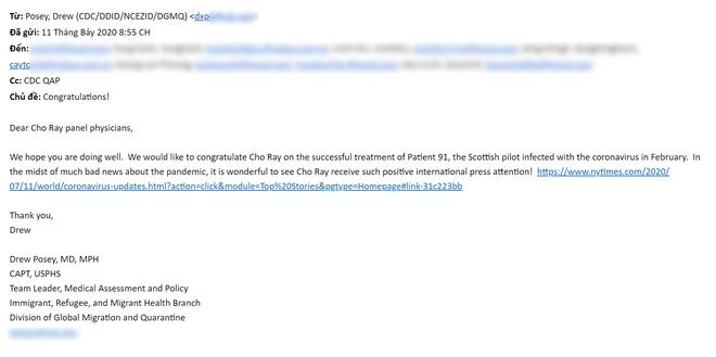New York Times ca ngợi, CDC Mỹ gửi thư chúc mừng BV Chợ Rẫy điều trị thành công cho bệnh nhân 91 - Ảnh 1.