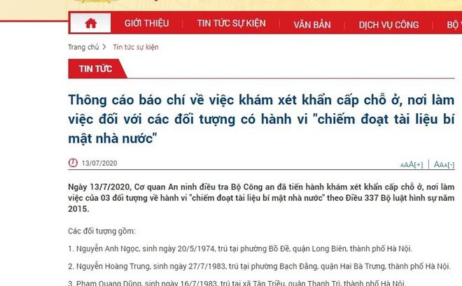 Vụ khám xét khẩn cấp với 3 đối tượng ở Hà Nội: Bộ Công an khởi tố vụ án chiếm đoạt tài liệu bí mật Nhà nước