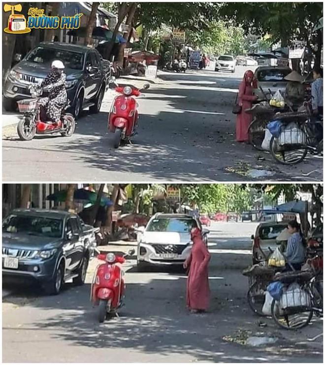 Chị gái trùm kín mít dừng xe giữa đường để mua trái cây - cảnh tượng khiến bao người ngao ngán - Ảnh 1.