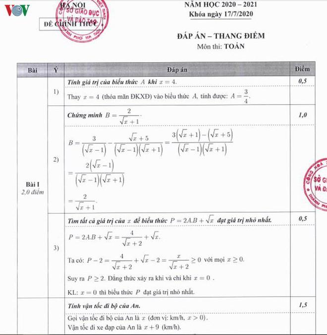 Thi lớp 10 tại Hà Nội: Chi tiết đáp án, thang điểm môn Toán của Sở GD-ĐT - Ảnh 1.