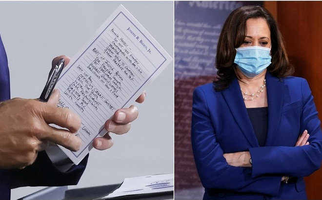 Bản viết tay hé lộ nhân vật liên danh tranh cử của ông Joe Biden