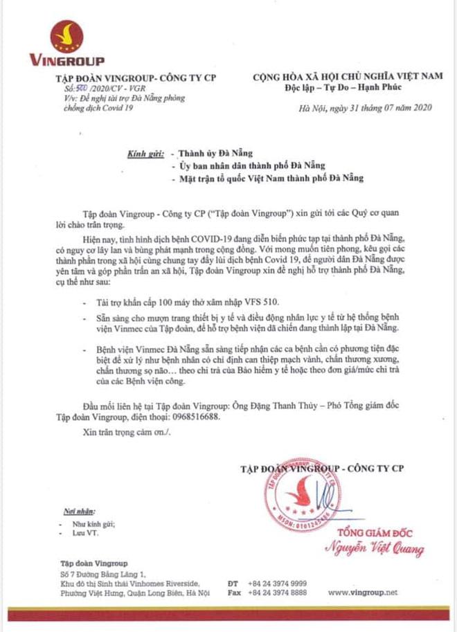 Tập đoàn Vingroup tặng Đà Nẵng 100 máy thở - Ảnh 1.