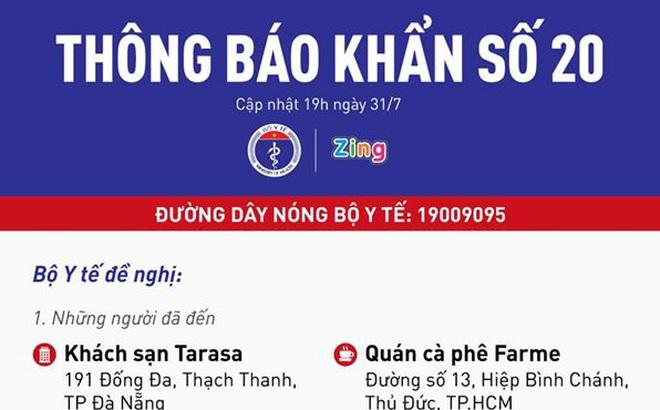 Người đến những nơi này ở Đà Nẵng và TP Hồ Chí Minh cần liên hệ cơ quan y tế gấp