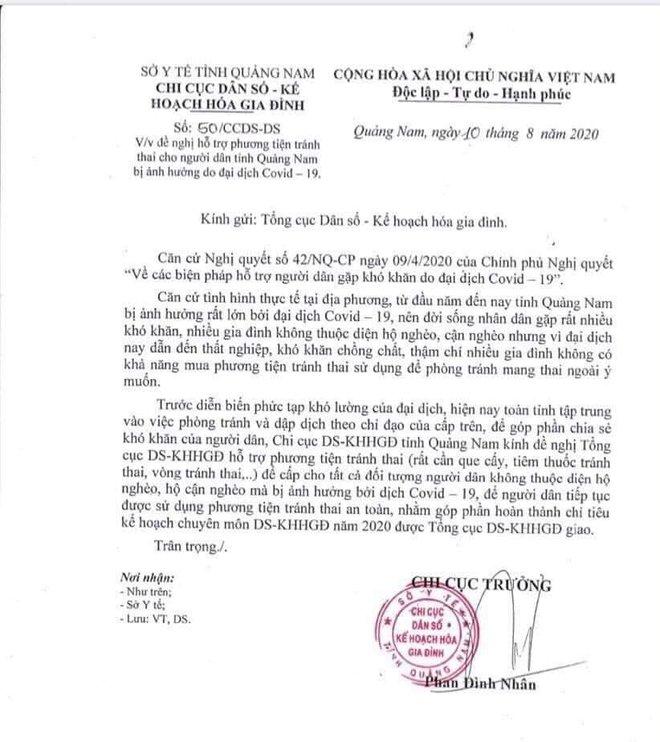 Quảng Nam xin hỗ trợ phương tiện tránh thai cho người dân bị ảnh hưởng bởi Covid-19 - Ảnh 1.