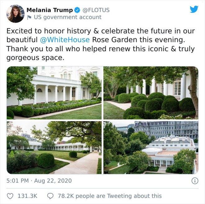 Dân mạng thi nhau post ảnh mỉa mai Đệ nhất phu nhân Mỹ Melania đã làm hỏng Vườn Hồng - Ảnh 1.