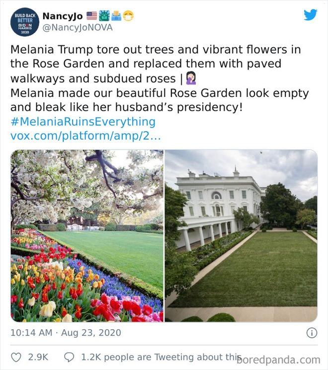 Dân mạng thi nhau post ảnh mỉa mai Đệ nhất phu nhân Mỹ Melania đã làm hỏng Vườn Hồng - Ảnh 5.