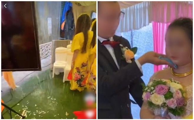 Hôn trường hoang tàn vì mưa lớn, ai cũng ướt sũng nhưng chỉ 1 hành động của chú rể trên sân khấu với cô dâu khiến tất cả thổn thức
